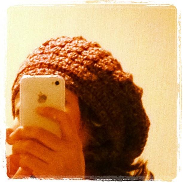 ミックス糸のベレー帽