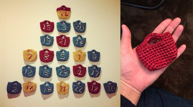 アドベントカレンダー作ってみる?細編みのプチバッグの編み図公開!