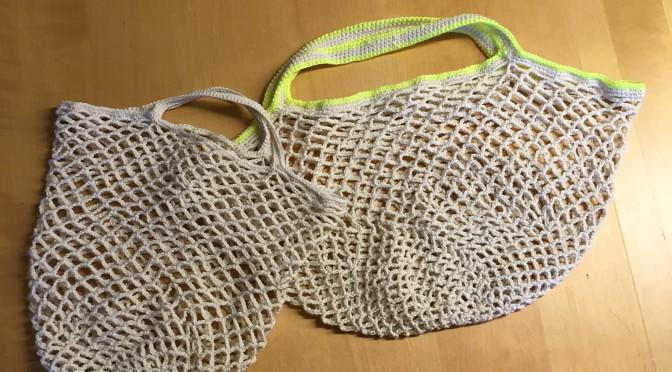 ネット編みのトートバッグ